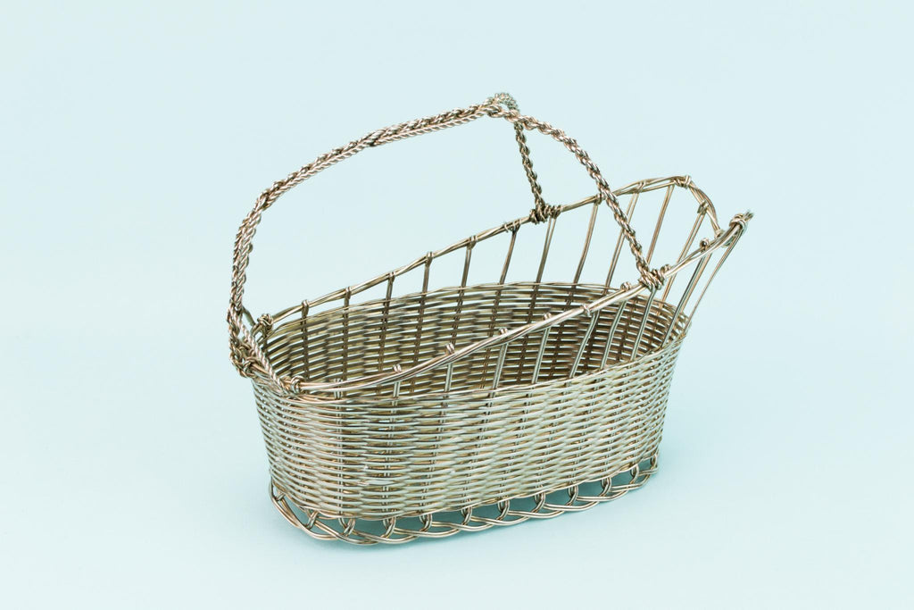 Silver Plated Wine Carrier Basket, English 1930s
