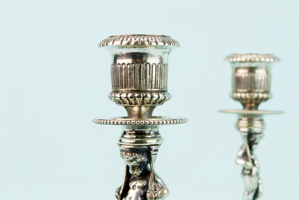 2 Silver Plated Elkington Putti Candlesticks, English Circa 1850