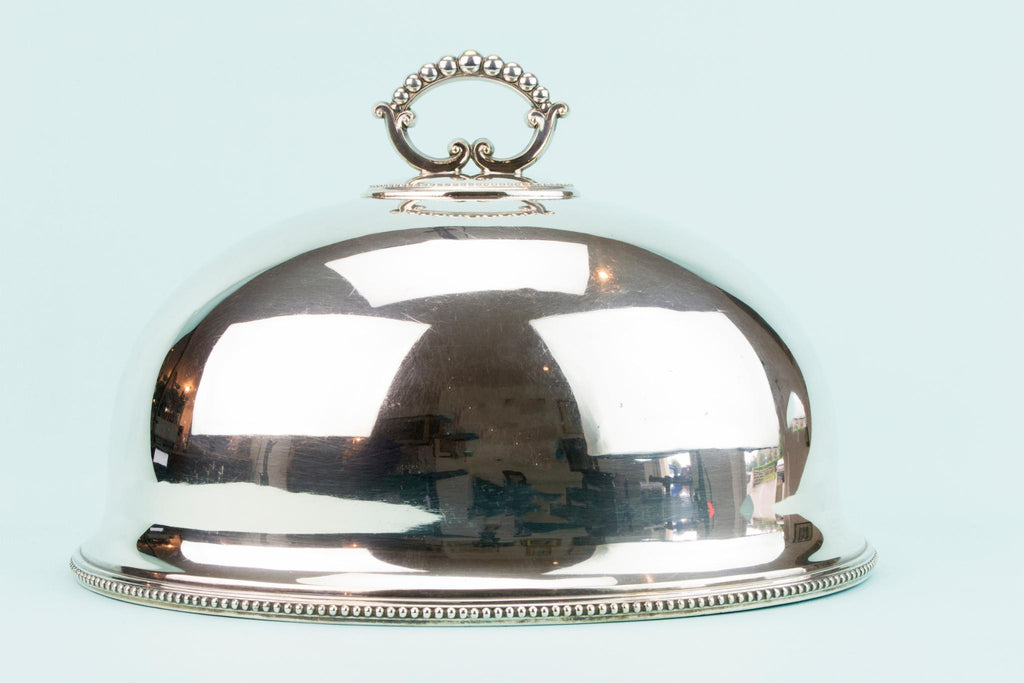 Silver Plated Dome Dish Cover, English Early 1900s