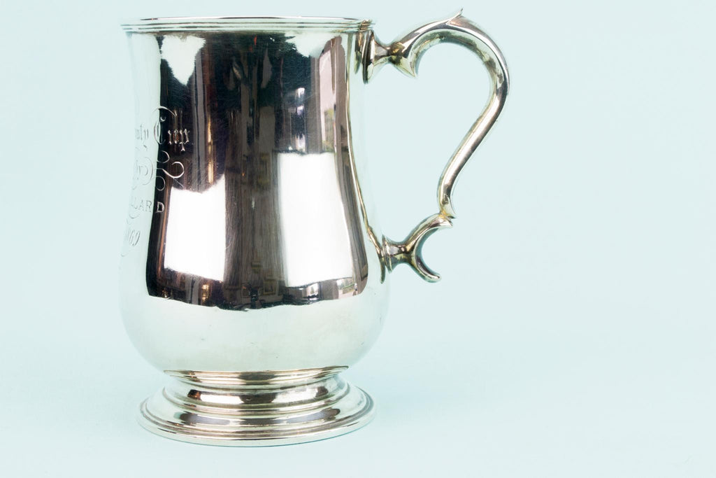 2 Silver Plated Trophy Tankards, English 1860s