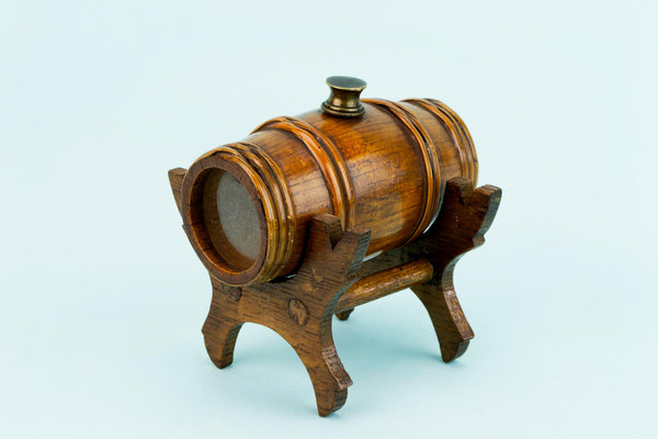 Oak Barrel Arts & Crafts Spice Pot, English Early 1900s