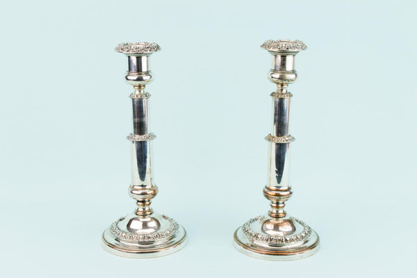 Pair Of Silver Plated Large Candlesticks, English 1830s