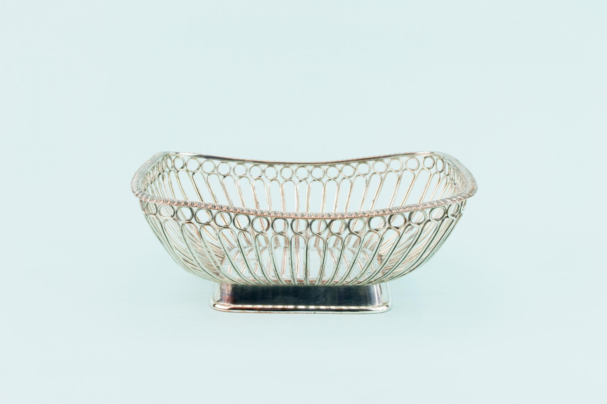 Silver Plated Bread or Fruit Serving Bowl, English Circa 1800