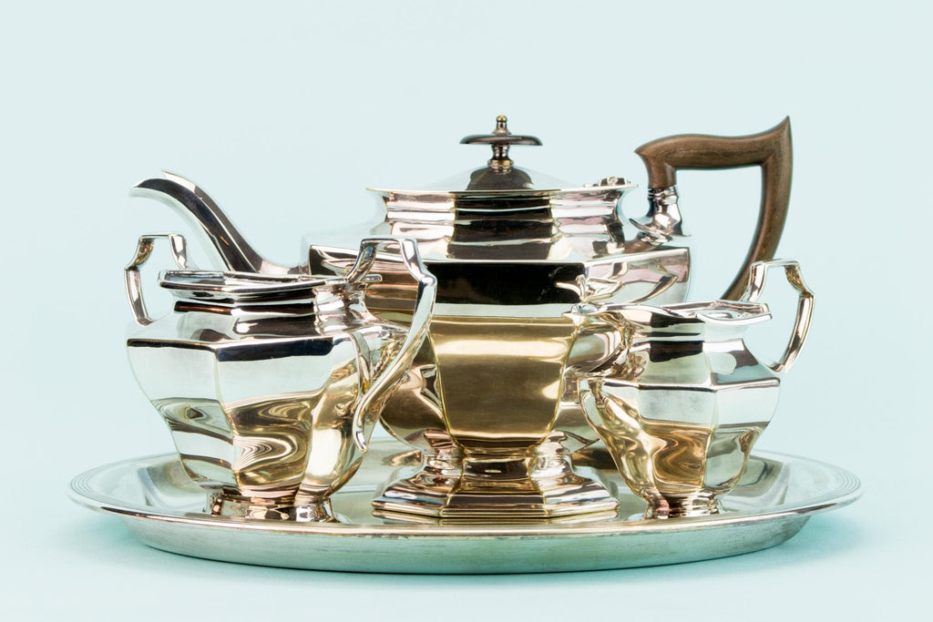 Art Deco Silver Plated Tea Set on Tray, English 1920s