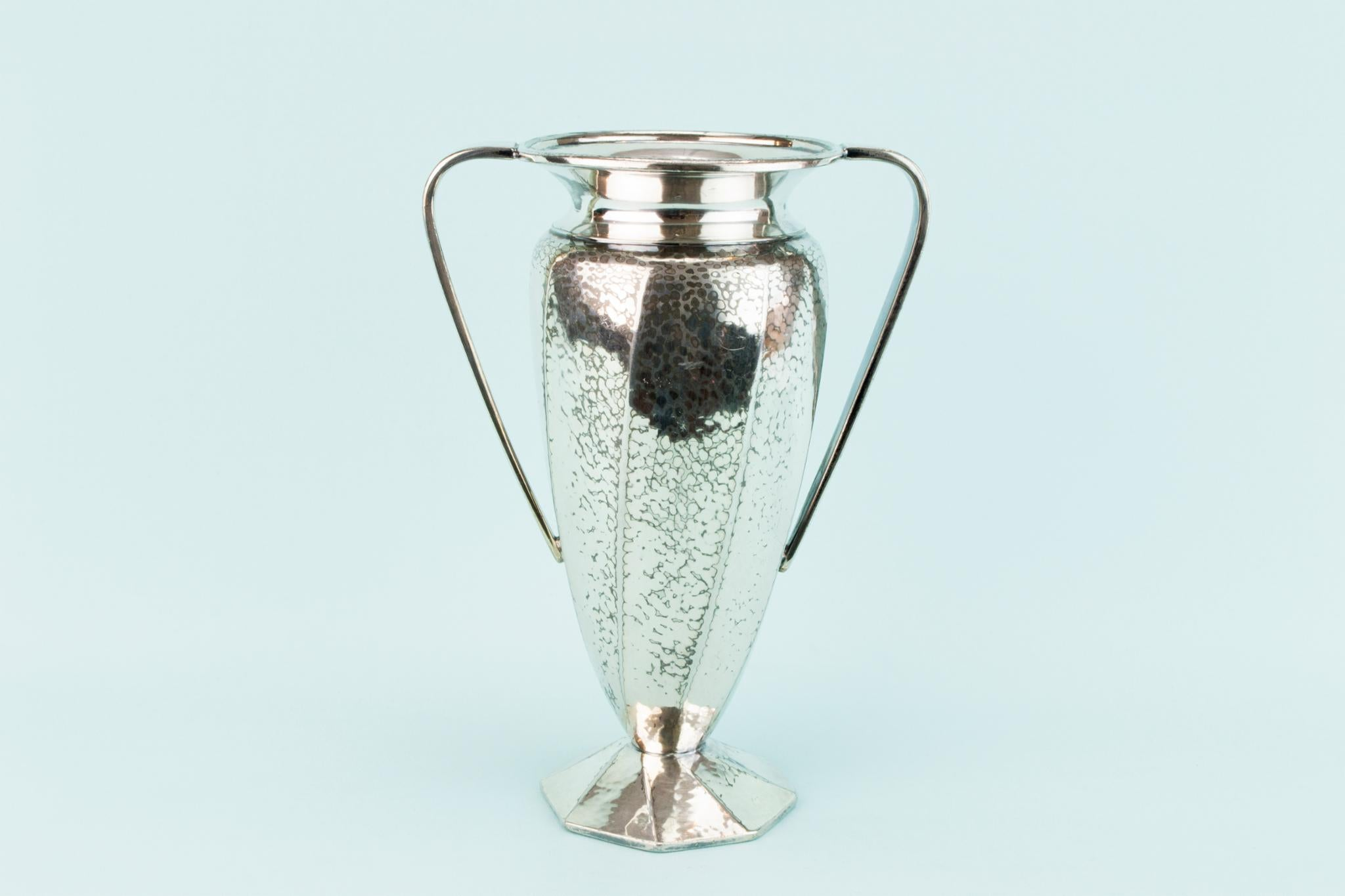 Edwardian Pewter Amphora Vase, English Early 1900s