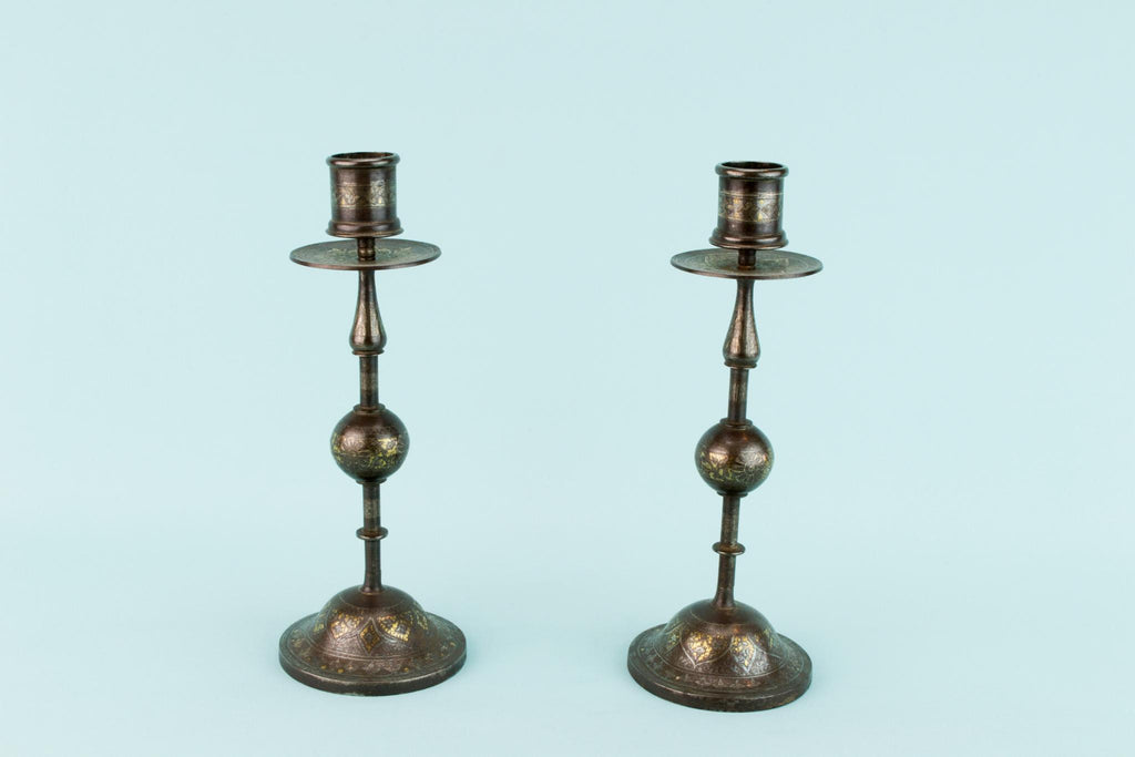 Pair of Inlaid Metal Candlesticks, Indian 19th Century