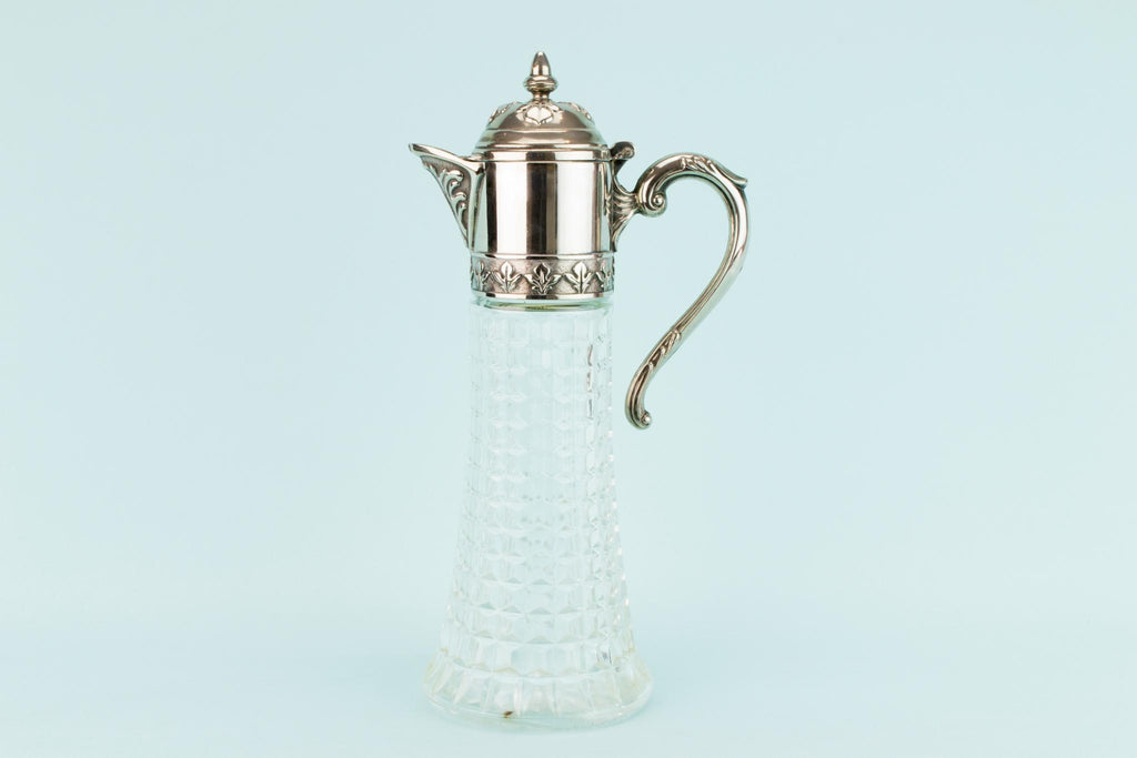 Glass and Silver Plated Wine Carafe, English Mid 20th Century