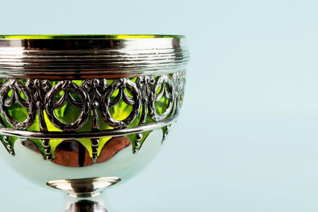 Silver Plated & Green Glass Serving Bowl, English Circa 1900