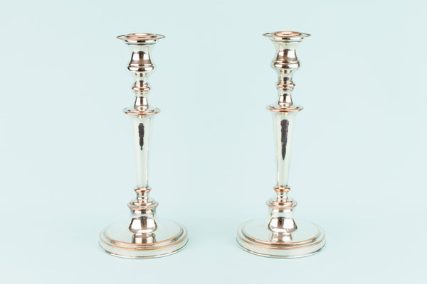 Pair Of Silver Plated Medium Candlesticks, English 1930s
