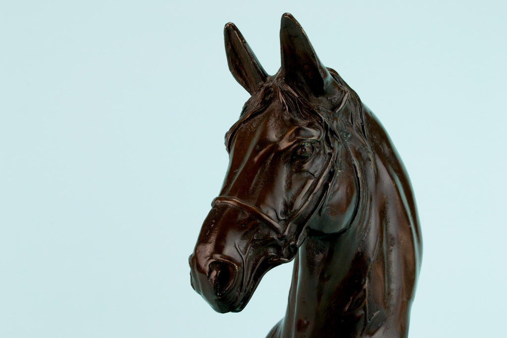 Bronze Horse Head Sculpture, English 1920s