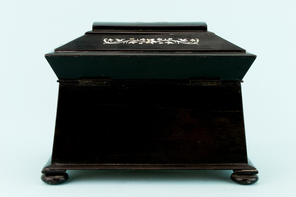 Black Wood & Mother of Pearl Box, English 1870s