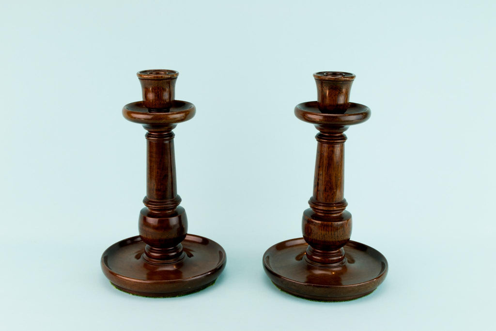 Pair Of Mahogany Large Candlesticks, English Circa 1900