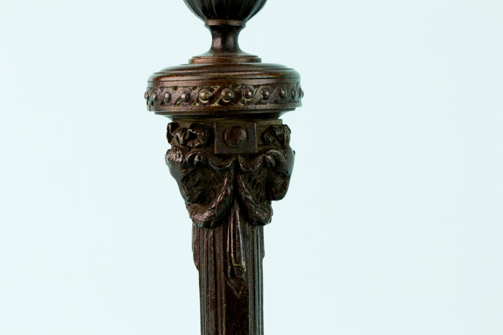 2 Bronze Regency Candlesticks, English Circa 1820