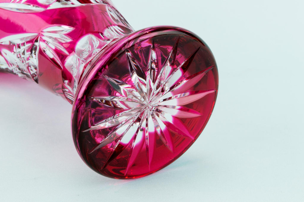 Cranberry Red Cut Glass Flower Vase