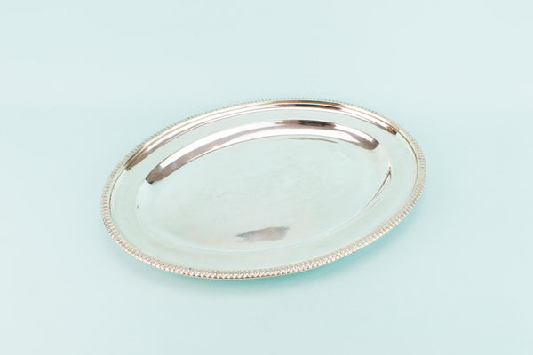 Silver Plated Oval Serving Tray, English 1930s