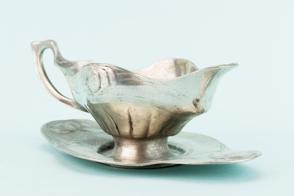 Art Nouveau Pewter Gravy Boat, English Circa 1900
