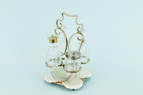 Cut Glass Condiment Set on Stand, English 1930s
