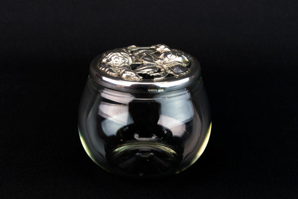 Glass & Sterling Silver Jar, English 1991