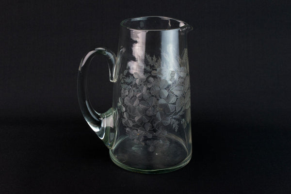 Etched Glass Water Jug, English Early 1900s