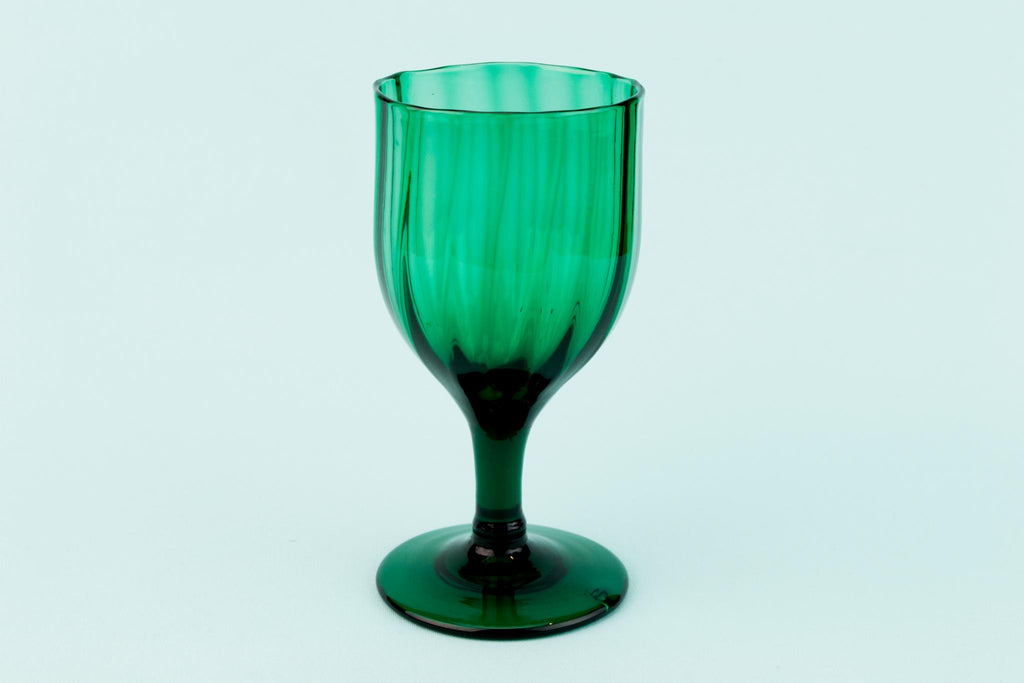 Wavy dessert wine Glass in dark green, English Mid 19th Century