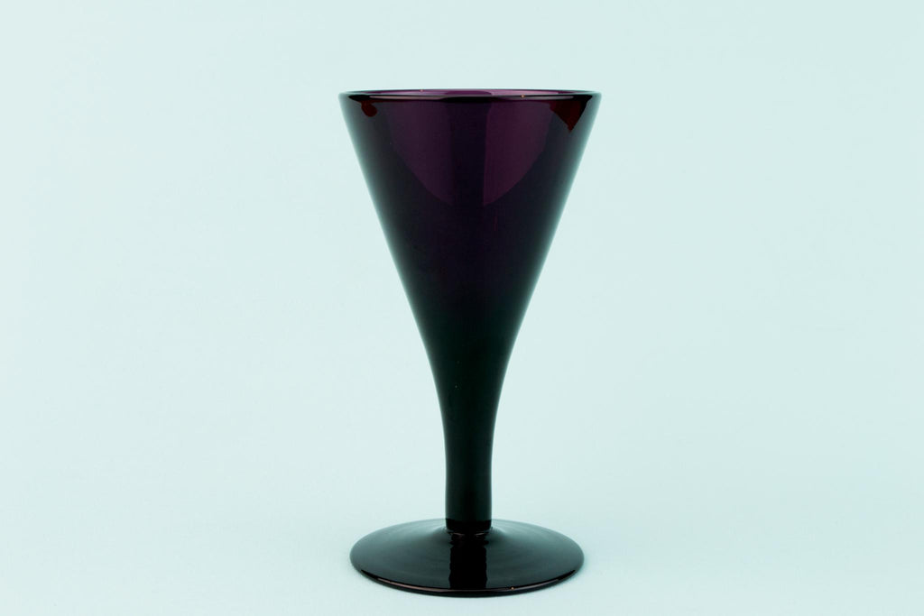Dark Amethyst Wine Glass, English Circa 1820