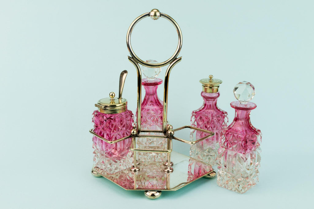 Cut Glass 4 piece Condiment Set on stand, English Circa 1900