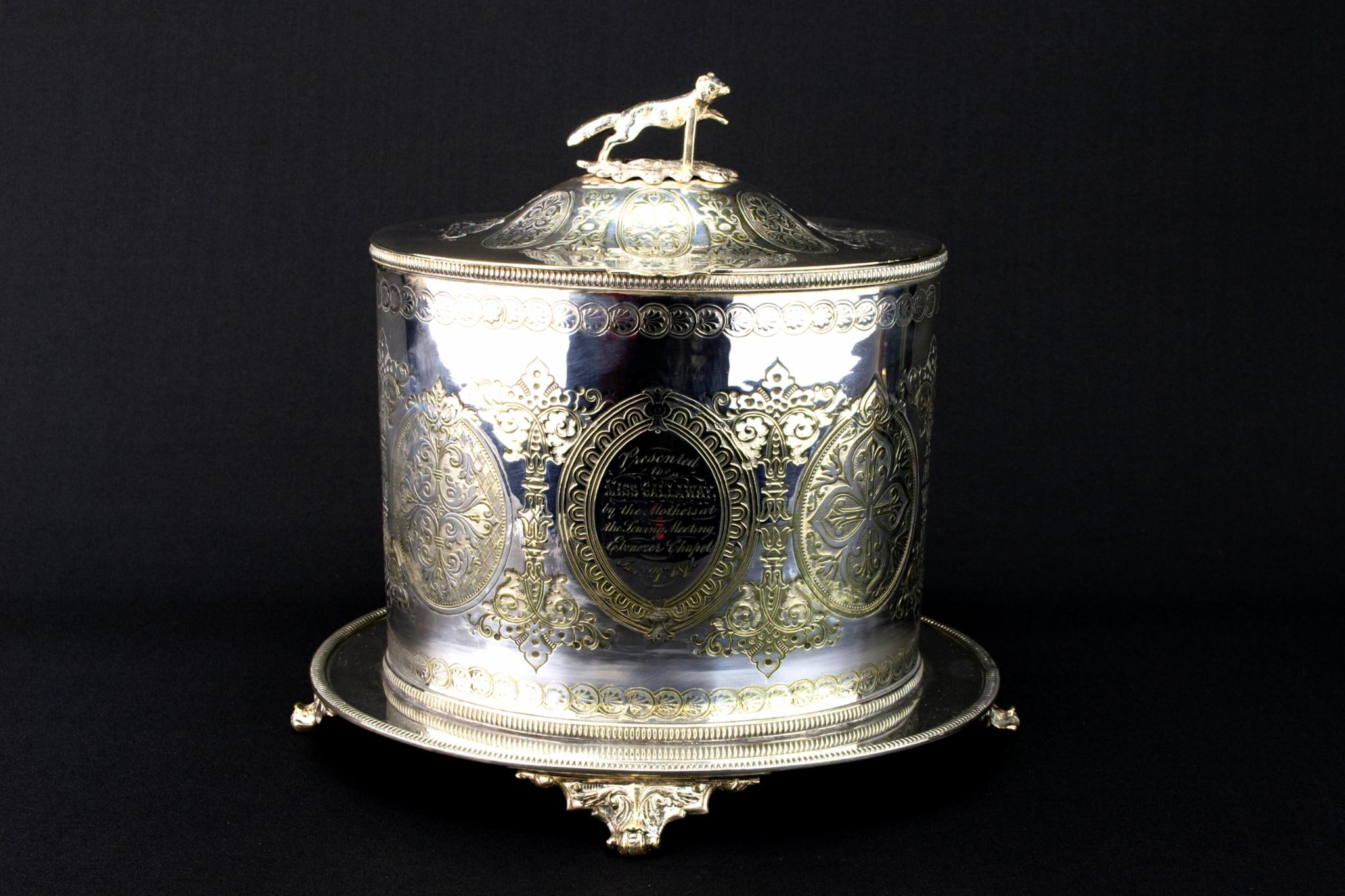 Large Silver Plated Storage Jar, English 1870s