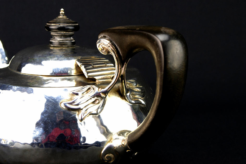 Sterling Silver Art Nouveau Tea Set Trio, English 1908
