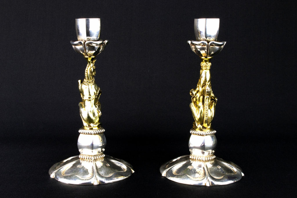 Sterling Silver Golden Jubilee Candlesticks, English 2007