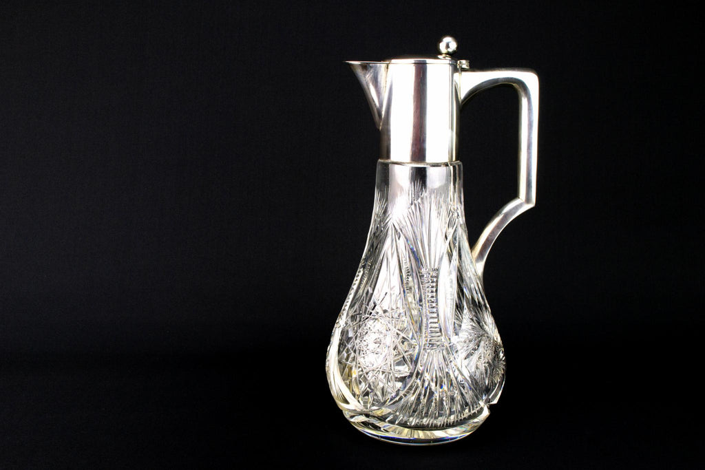 Silver & Cut Glass Table Wine Carafe