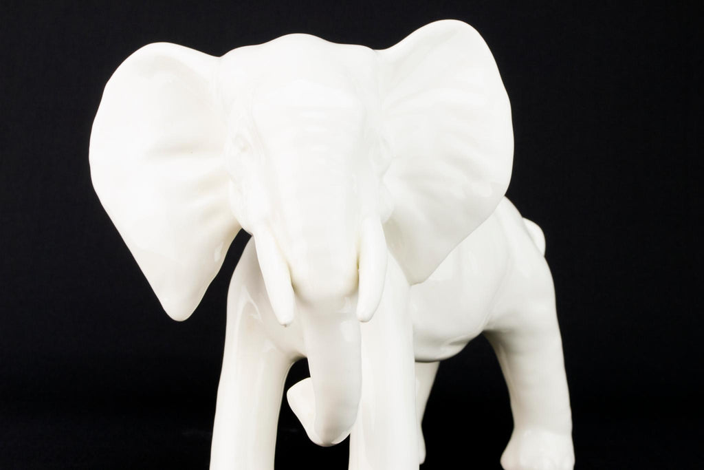 Large White Porcelain Elephant Sculpture