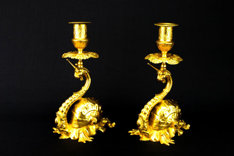 Fantastic Ormolu Gilt Candlesticks, French 19th Century