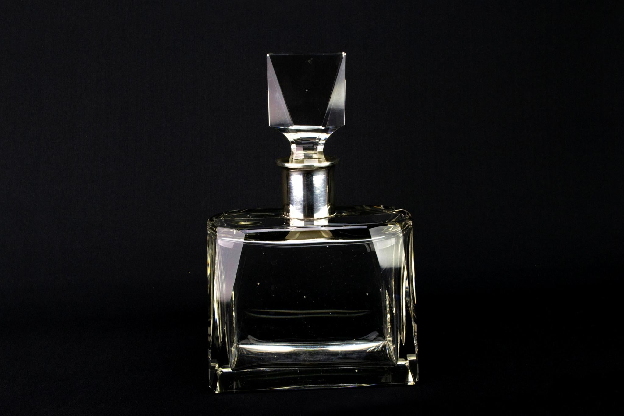 Art Deco Cut Glass & Silver Whisky Decanter, German 1920s