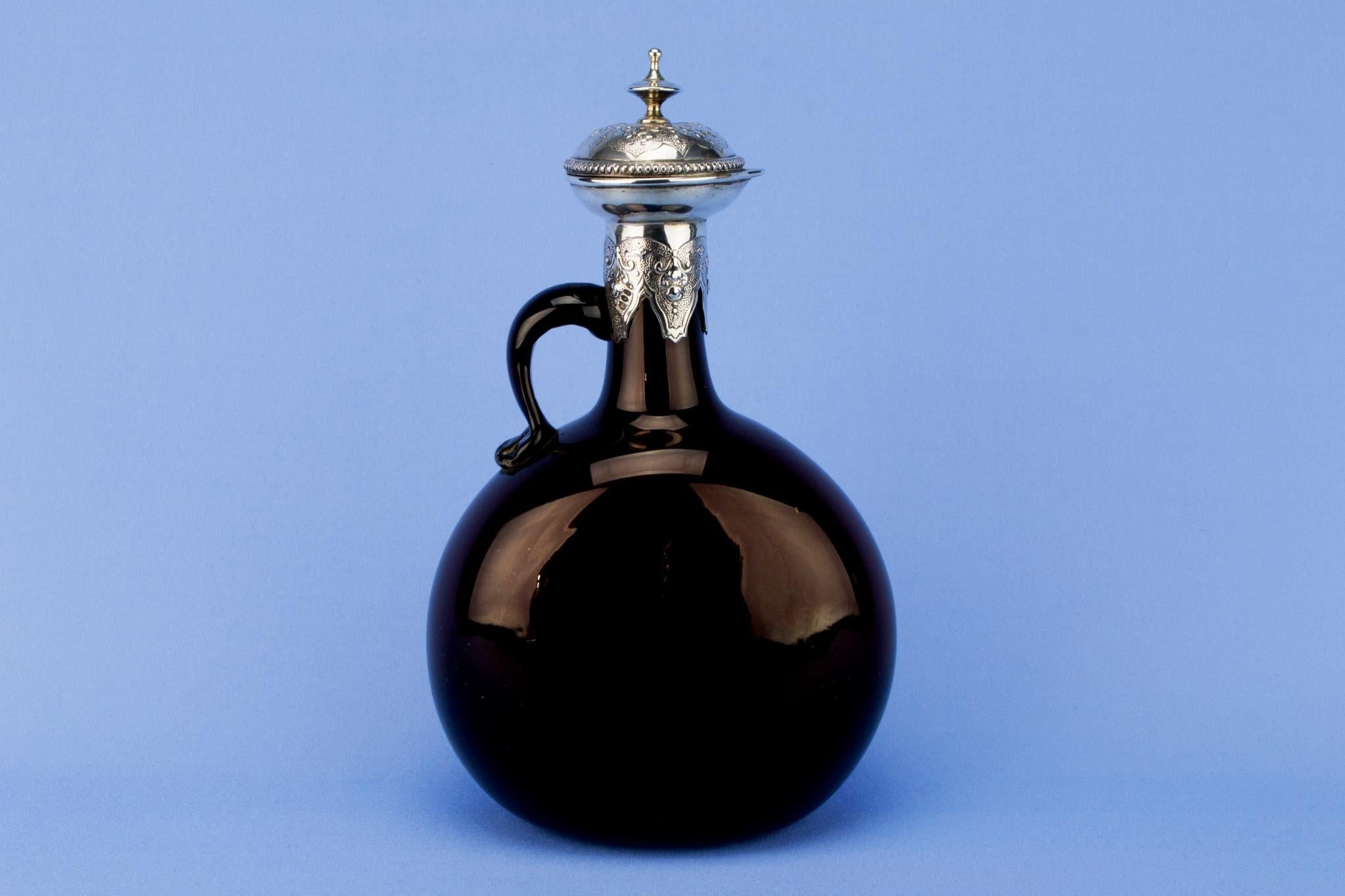 Brown Glass & Sterling Silver Carafe, English 1865
