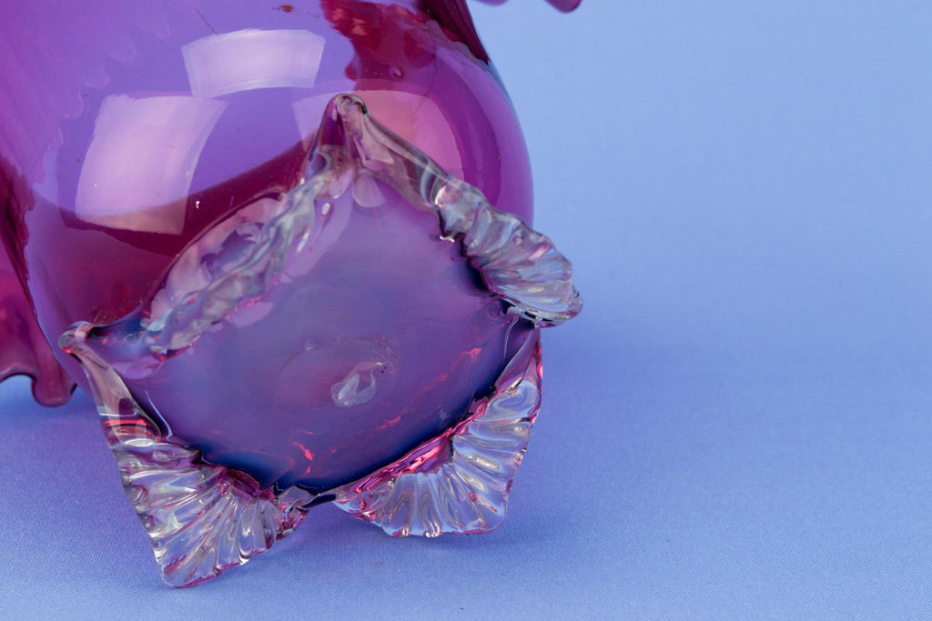 Cranberry Red Glass Serving Bowl, English 19th Century