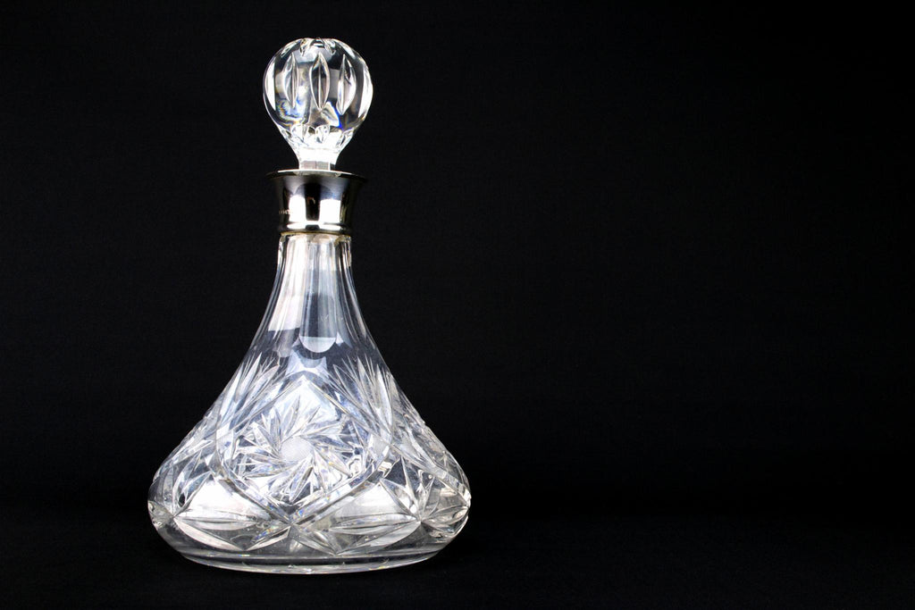Cut Glass & Sterling Silver Wine Decanter, English 1986