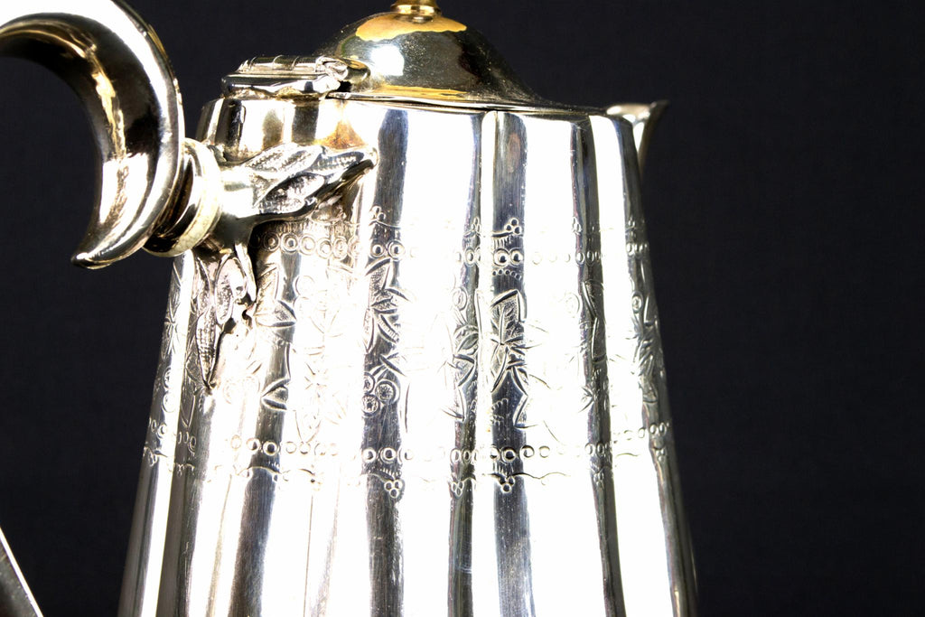 Silver Plated Aesthetic Movement Coffee Pot, English 1880s