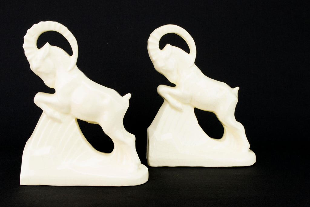 Two Art Deco Ibex Bookends, English 1930s