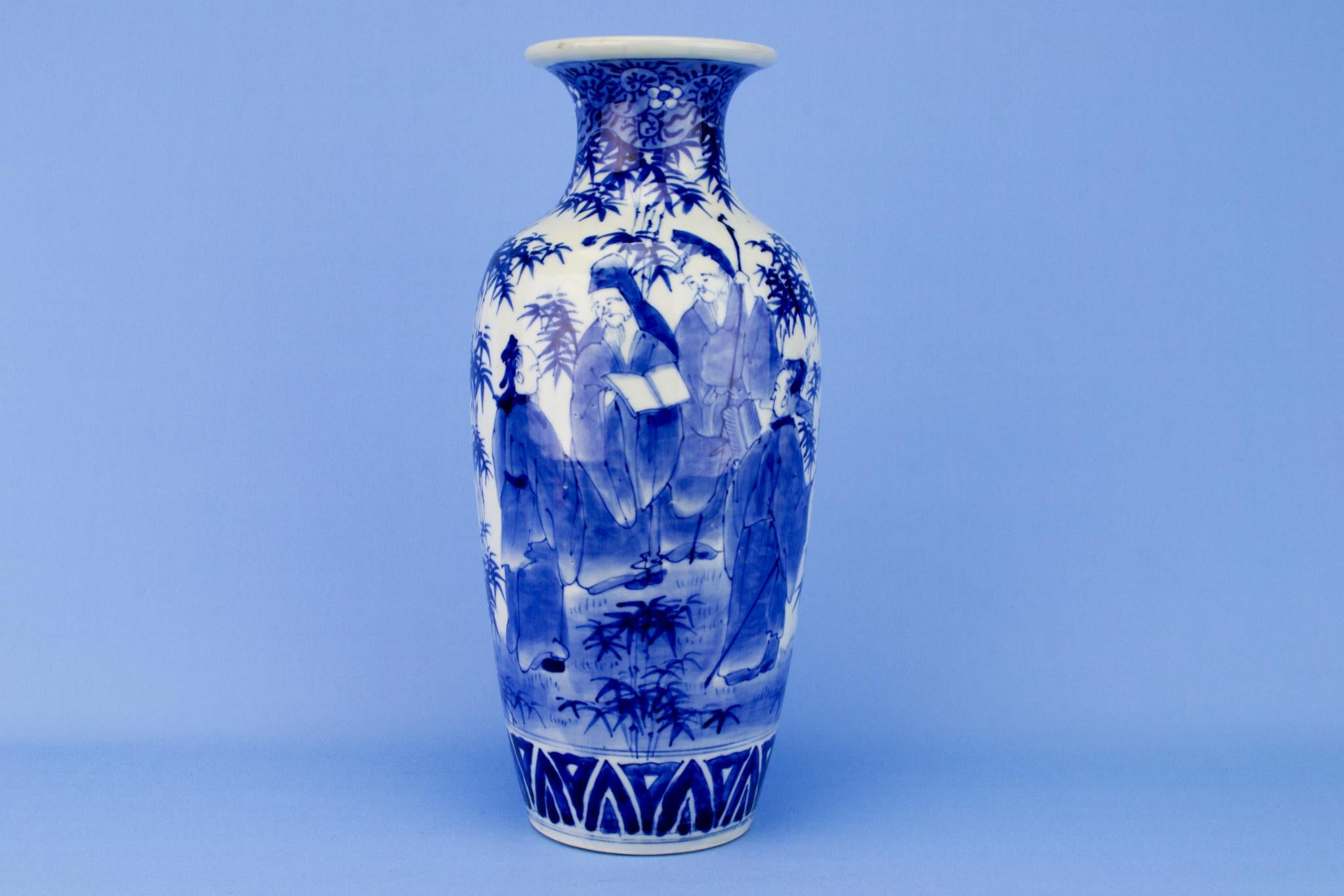 Large Blue and White Baluster Vase