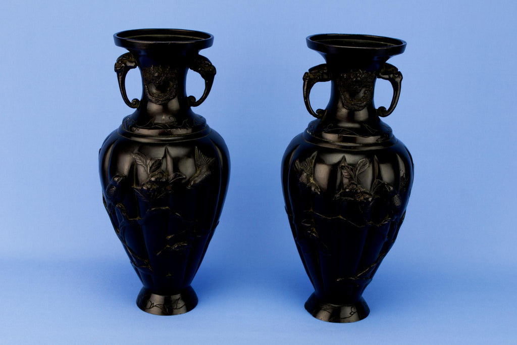 2 Bronze Baluster Vases, Japanese 19th Century