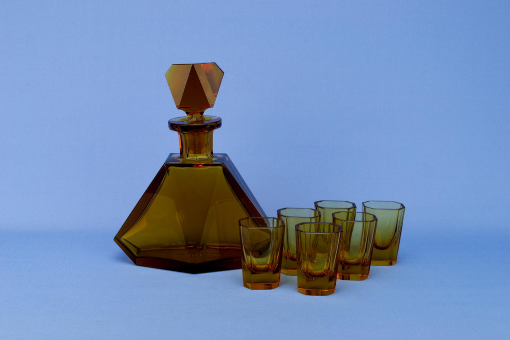 Art Deco Amber Decanter and 6 Glasses Set