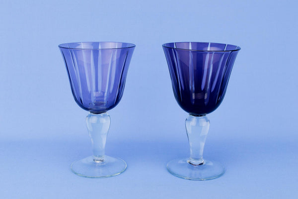 2 Amethyst Wine Glass Goblets