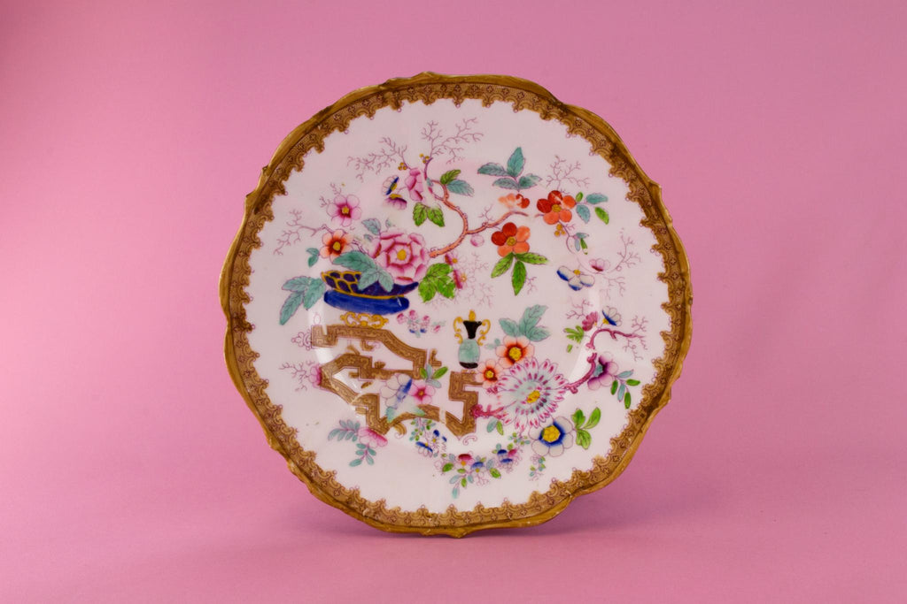 Hand Painted Bone China Serving Dish, English 19th Century