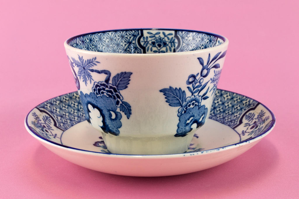 Large Blue & White Yuan Tea Cup and Saucer, English 1910s