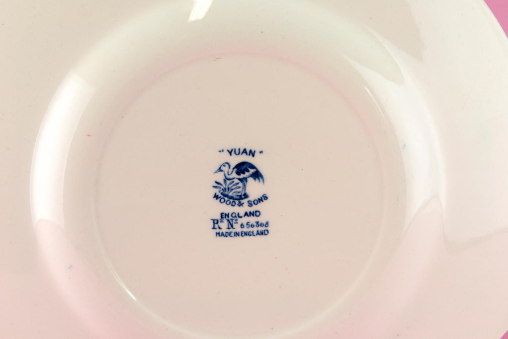 Blue and White Yuan Cake Plate, English 1910s