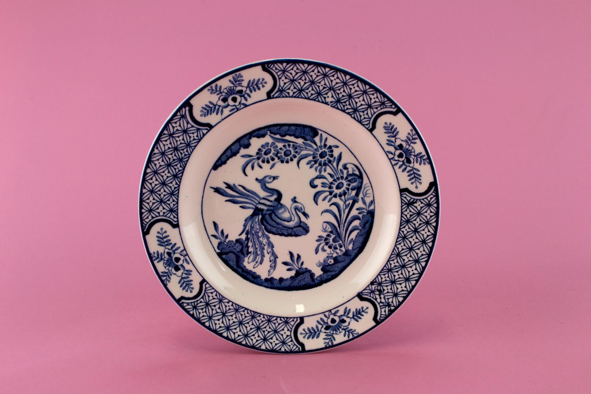 6 Small Blue and White Yuan Plates, English 1910s