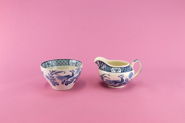 Blue & White Sugar Bowl and Creamer Set, English 1910s
