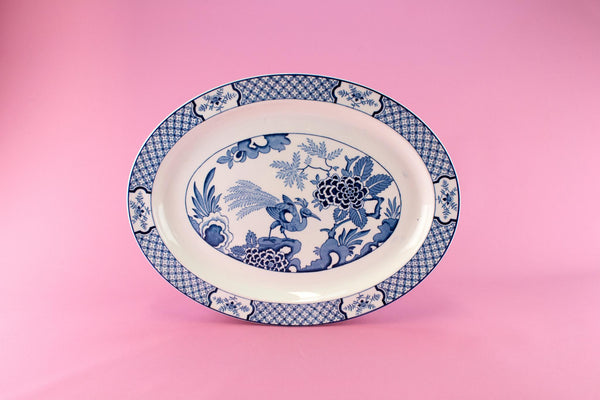 Large Blue & White Yuan Platter, English 1910s