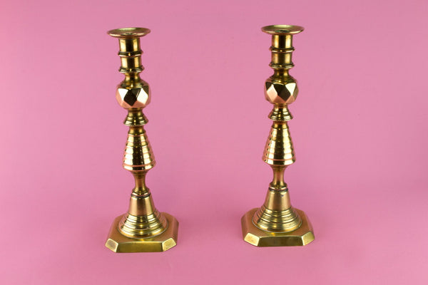 Pair Of Brass Medium Candlesticks, English 19th Century