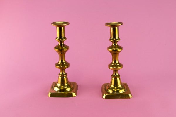 Pair Of medium Brass Candlestick, English 19th century